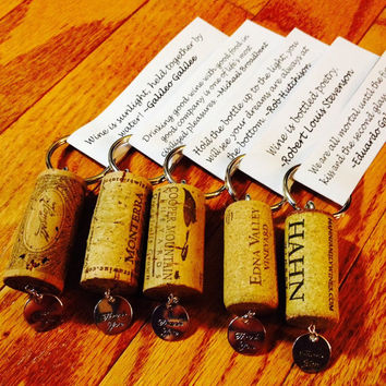 Personalized Wine Cork Keychain Favors