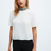 Cooperative Beaded Funnel Neck Tee in Ivory - Urban Outfitters