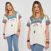 Vintage 70s EMBROIDERED Peasant Top Hippie Top DEER & FLOWER Print Boho Tunic Festival Top