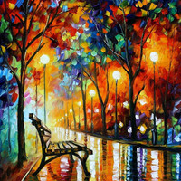 "The Loneliness of Autumn — PALETTE KNIFE Landscape Park Oil Painting On Canvas By Leonid Afremov - Size: 30"" x 40"" (75cm x 100cm) from afremov art"