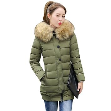 2017 New Fashion Thick Parkas With Big Fur Detachable Winter Jacket Women Long Cotton Hooded Outerwear Coat Female