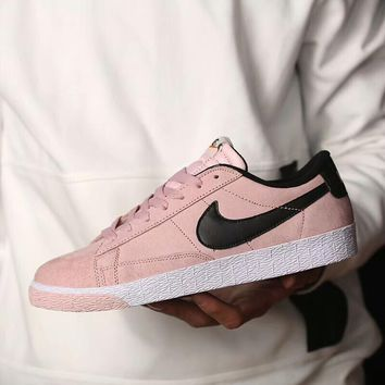 NIKE Blazer Trending Women Men Casual Leather Flat Sport Running Board Shoes Sneakers Couple Shoe Pink I-AA-SDDSL-KHZHXMKH