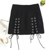 Punk Lace Up Mini Skirt