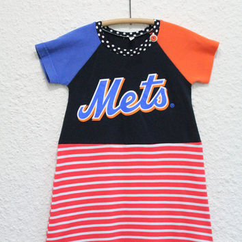 Upcycled NY Mets T Shirt Dress, Girl's Size 6 Baseball TShirt Dress, Recycled  NY Mets TShirt Dress, Girl's Dress, Repurposed T Shirt Dress,