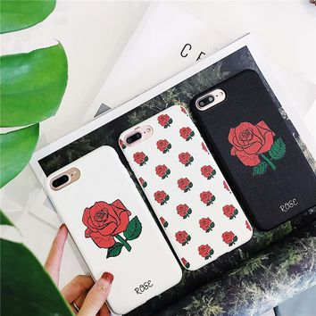 2018Hot Valentine's Grid Relief Rose Soft TPU Phone Case For iphone X,Silicone Back Cover For iphone 6 6plus 7/8plus Fitted Case