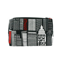 New York City Skyline Travel Cosmetic Bag/Makeup Pouch in Black and Red: Party Favor, Birthday Gift, Graduation Gift, Zipper Pouch