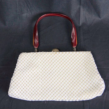 Vintage 1950s Glamorous White Metal Mesh Handbag Amber Handle