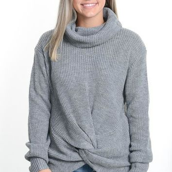 Gray Cable Knit Twist Sweater