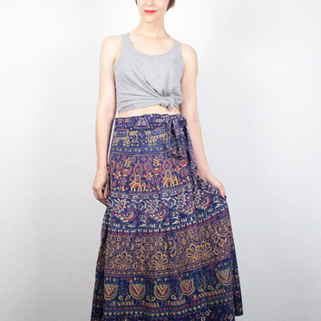 Vintage Indian Skirt Midi Skirt 1970s Skirt Purple Ethnic Print Wrap Skirt India Skirt Boho 70s Skirt Batik Bohemian Skirt M Medium L Large