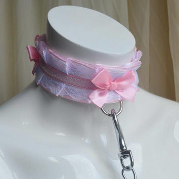 Kitten play collar and leash - Softpink - petplay kittenplay ddlg submissive bdsm proof choker lead - white pink satin petplay gear