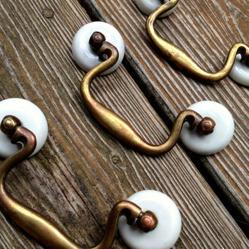 Vintage White Ceramic & Antiqued Brass Drop Pail Pulls Hardware for Furniture Cabinets