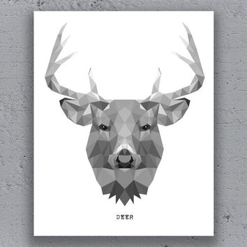 Deer stag print printable poster geometric print black white wildlife polygon animal art retro art print