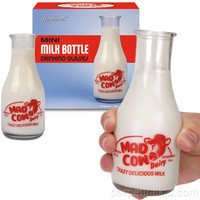 MAD COW MINI MILK BOTTLE DRINKING GLASSES