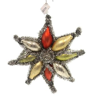 Holiday Ornaments EIGHT POINTED TINSEL STAR Glass Vintage Sn7513