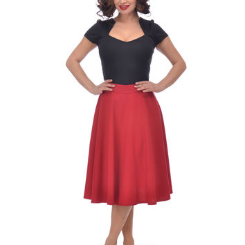 Steady Clothing High Waist Pin-up Office Lady Cherry Red Swing Circle Skirt