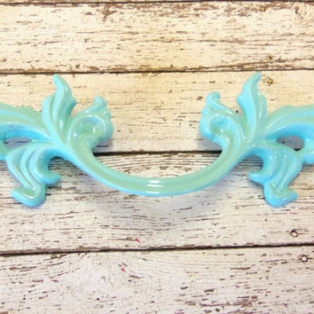 French Provincial Drawer Pull Upcycled Aqua Ocean Beach Blue 5.75 Inches 3 Inch Centers Paris Apartment New Orleans