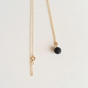 Lava Bead Minimalist 18 in. Gold Filled Necklace