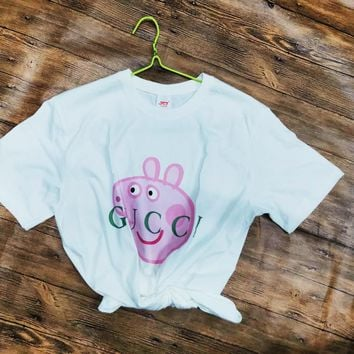 6efa78b4bff GUCCI x Peppa Pig co-branded men s and women s wild cotton round. Item  Type  Clothing ...