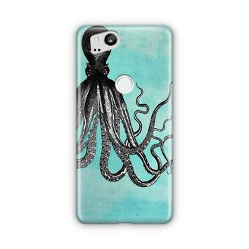 The Telepathic Octopus    Black Octopus With Blue Background Google Pixel 3 XL Case | Casefantasy