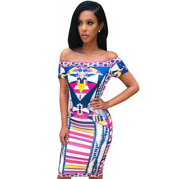 Summer Women Dress Traditional African Print Elegant Off Shoulder Short Sleeve Bodycon Dress Slim Casual Party Vintage Dresses
