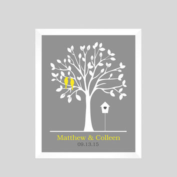 Gift for Couple, Unique Wedding Gift, Wedding Print, Family Tree Print, Personalized Custom Love Birds, Wedding Art, CUSTOMIZE YOUR COLORS