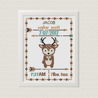 Cross stitch Birth announcement Deer cross stitch pattern boho  baby sampler new baby boy birthday gift  aztec tribal nursery home decor