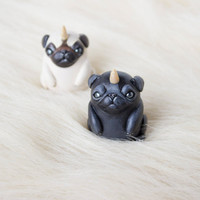 Pug figurine Polymer animal totem Cute pug totem Pugicorn Unipug Miniature put art Animal figurine Unicorn figurine Clay animal Clay pug