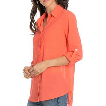 Roll Up Sleeve Button Down Neon Coral Chiffon Blouse
