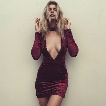2016 Autumn Winter Sexy Velvet Dress Deep Lace V-neck Long-sleeve Halter Stretch Slim Dress Wine Red Blue Color Mini Dress