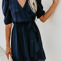 To The Max Wrap Dress - Navy
