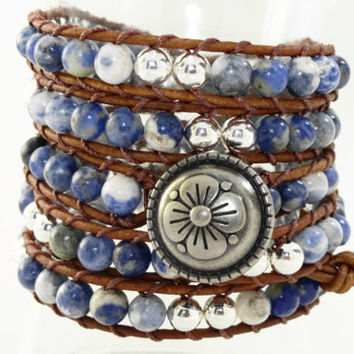 Blue Sodalite Leather wrap bracelet - chan luu inspired - beaded leather wrap on brown leather - bohemian bracelet