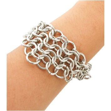Silver Chain Layered Hoop Bracelet