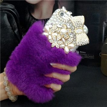 Luxury Bling bowknot/small flowers Warm Soft Beaver Rabbit Fur phone cases for iphone X 4s 5s 5C 6s 7 8 8 Plus protective phone