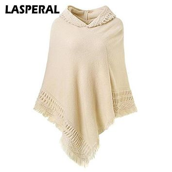 LASPERAL Autumn Poncho Sweaters Women Jersey 2017 Fashion Casual Tassel Knitted Christmas Sweaters Women Hooded Shawls Jumper