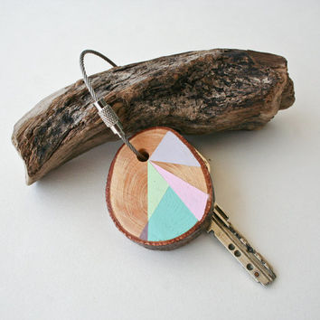 Pine wood keychain with stainless steel cable wire, tones of pink, mint, grey and light blue geometric triangle shapes