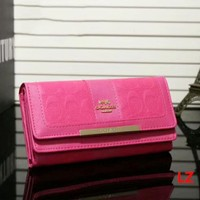 COACH Zipper Women Leather Purse Wallet Pink I-LLBPFSH