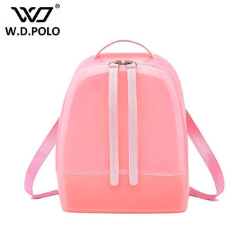 WDPOLO  KING New Silicon shinning leather women backpack sling lady chic essentials hand bags summer jelly candy color bag M1788