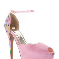Liliana Bedazzled Peep Toe Heels