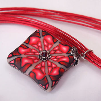 Red Square Polymer Clay Millefiori Pendant with Fantasy Motif, Necklace - OOAK