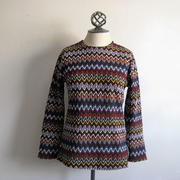 Vintage ZigZag Knit 70s Tops 1970s Poly Knit Long Sleeve Multicolor Shirt Medium