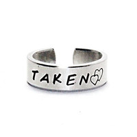 Taken Ring With Double Heart, Statement Ring, Unisex Love Ring, Personalized Cuff Style Ring, Hand Stamped Lovers Girlfriend Valentine Gift