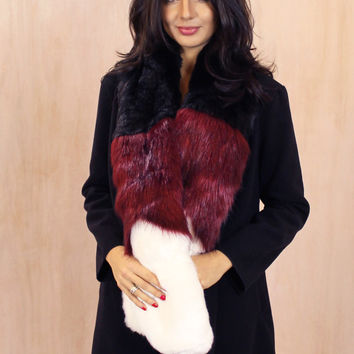 Colour Block Faux Fur Popsicle Stole in Burgundy, Black & White