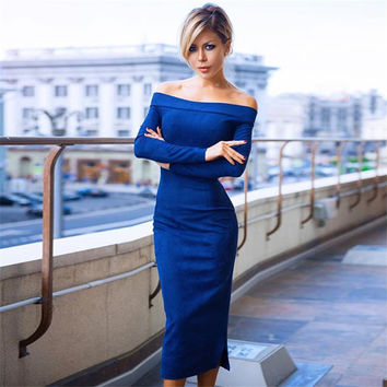 NCLAGEN 2016 Brand New Autumn Women Office Dress Maxi Party Sexy Bodycon Blue Red Suede Long Off Shoulder Female Vestidos Robe