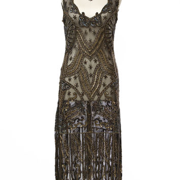 1920's Style Black & Gold Beaded Sinclair Flapper Dress - P2929 - Cabaret Vintage