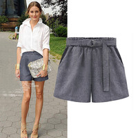 Gray Shorts With Belt And Pocket