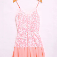 Pink Chiffon V-neck Spaghetti Strap Embroidery Sheath Pleated A-line Mini Dress