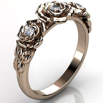 14k rose gold diamond unusual unique flower engagement ring, bridal ring, wedding ring ER-1091-3.