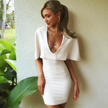 White v-neck cloak sexy night dress