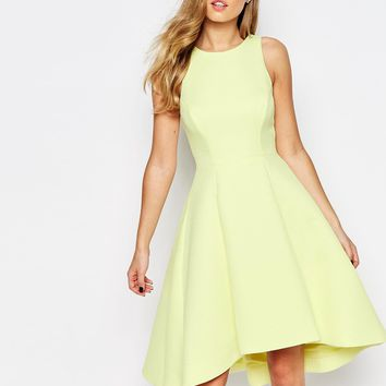 Coast Postella Textured Midi Dress in Lemon at asos.com