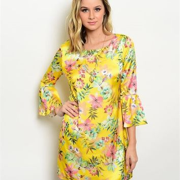 Ark & Co.: Yellow Floral Bell Sleeve Dress